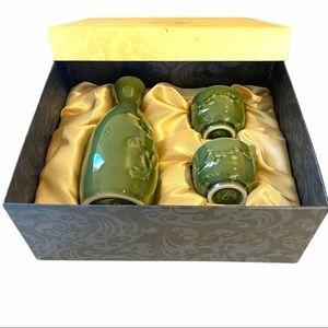 Teavana Porcelain Green Japanese Sake 3 Piece Set
